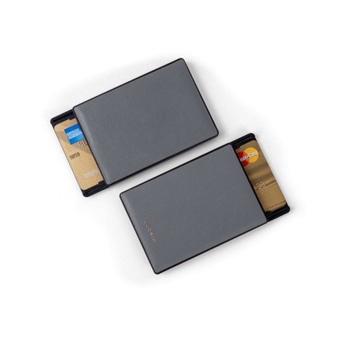 RFID Blocking Cards Holder - 2 - Mouse-Grey - Smooth Leather