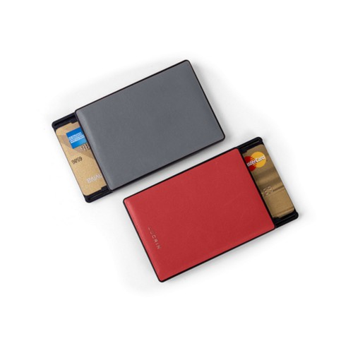 RFID Blocking Cards Holder - 2 - Mouse-Grey-Red - Smooth Leather
