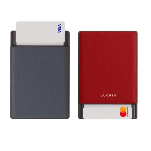 Kartenetui mit RFID-Blockierung - 6 - Mausgrau-Rot - Glattleder