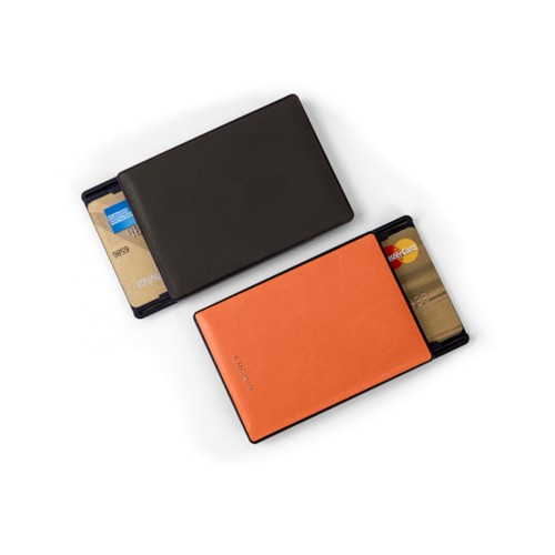 RFID Blocking Cards Holder - 2 - Dark Brown-Orange - Smooth Leather