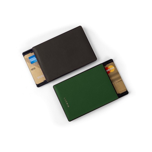 RFID Blocking Cards Holder - 2 - Dark Brown-Dark Green - Smooth Leather