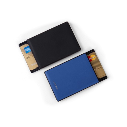 RFID Blocking Cards Holder - 2 - Black-Royal Blue - Smooth Leather