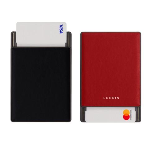 RFID Blocking Cards Holder - 2 - Black-Red - Smooth Leather
