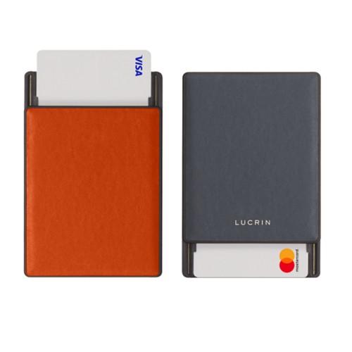 Tarjetero con bloqueo RFID - 2 - Naranja-Gris Ratón - Piel Liso