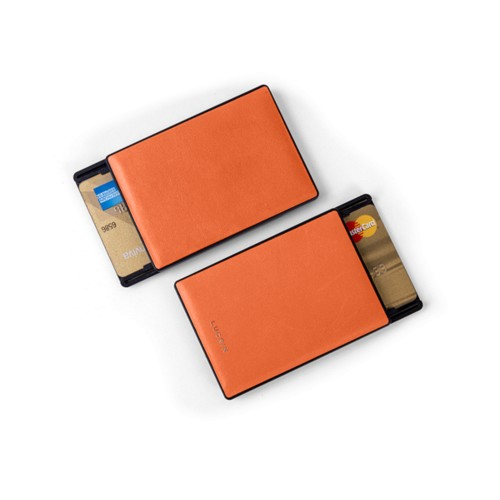 RFID Blocking Cards Holder - 2 - Orange - Smooth Leather