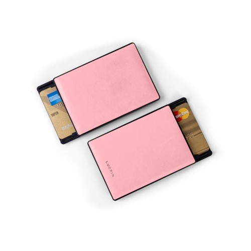 RFID Blocking Cards Holder - 2 - Pink - Smooth Leather