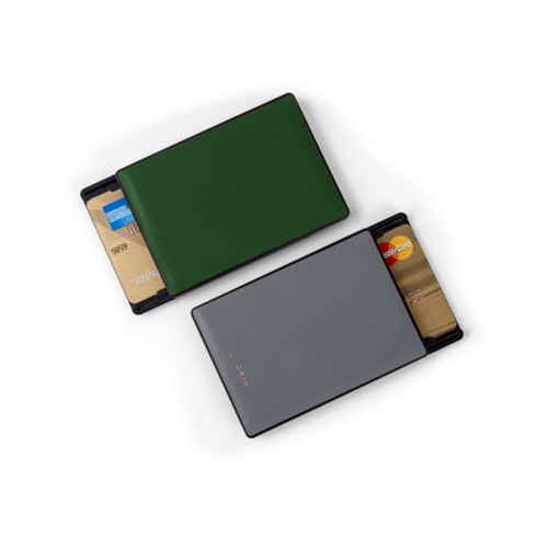 RFID Blocking Cards Holder - 2 - Dark Green-Mouse-Grey - Smooth Leather