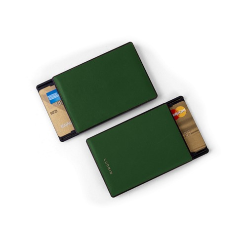 RFID Blocking Cards Holder - 2 - Dark Green - Smooth Leather