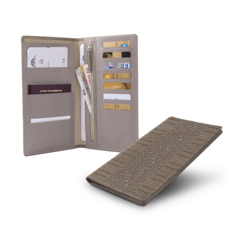 Travel Wallet - Light Taupe - Crocodile style calfskin