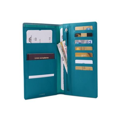 Travel Wallet - Turquoise - Crocodile style calfskin