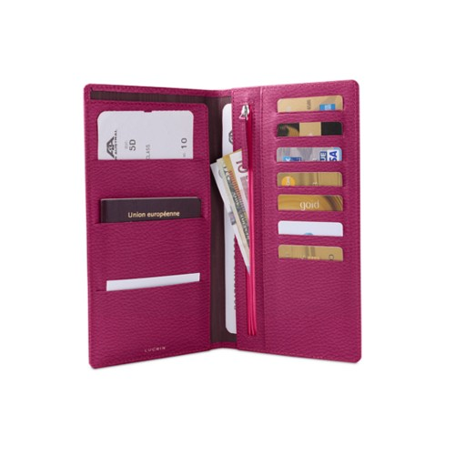 Travel Wallet - Fuchsia  - Granulated Leather