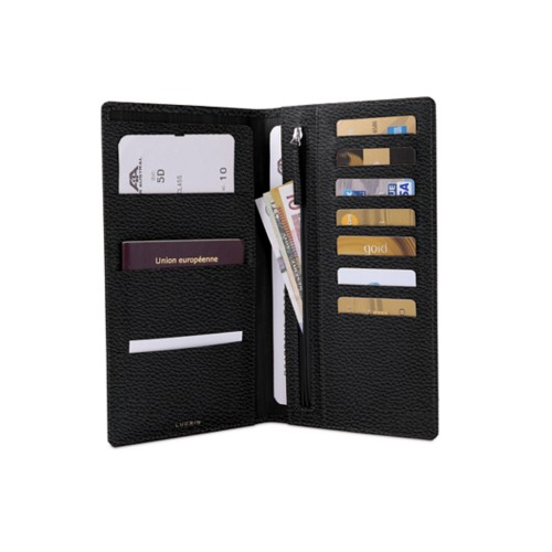 Travel Wallet - Black - Granulated Leather