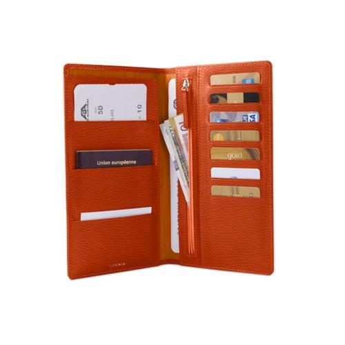 トラベルウォレット - Orange - Granulated Leather
