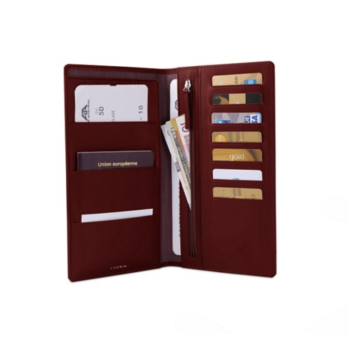 Travel Wallet - Burgundy - Smooth Leather