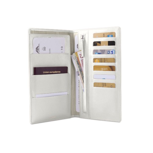 Travel Wallet - White - Smooth Leather