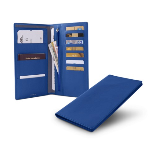 Travel Wallet - Royal Blue - Smooth Leather