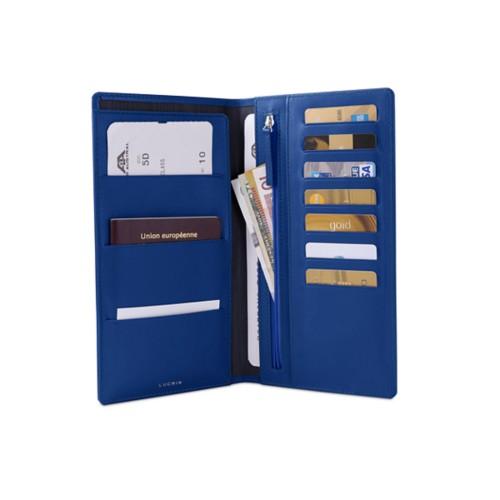 Reisebrieftasche - Königsblau  - Glattleder
