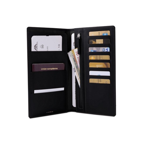 Travel Wallet - Black - Smooth Leather