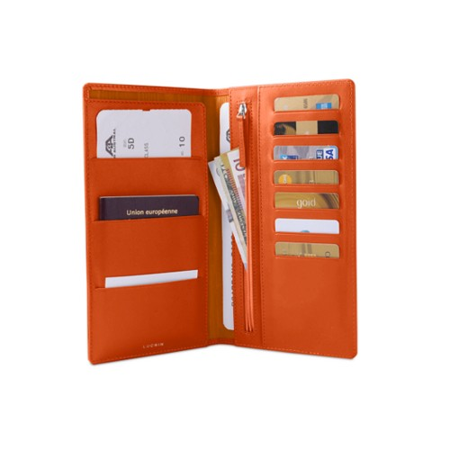 Travel Wallet - Orange - Smooth Leather