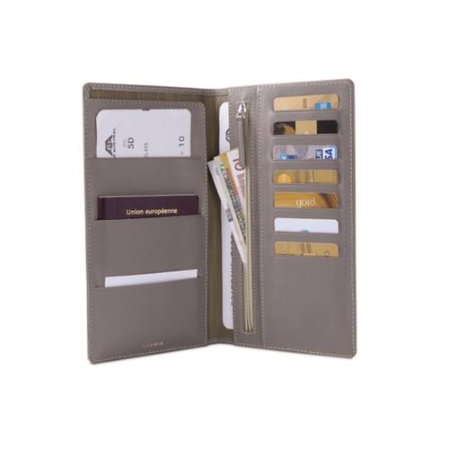 Reisebrieftasche - Hellbraun - Glattleder