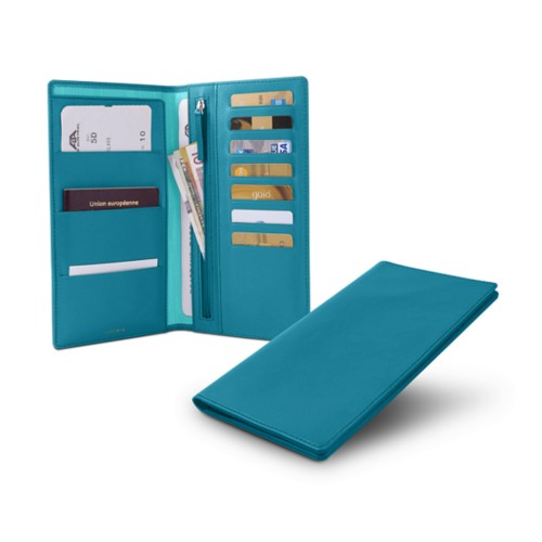 Travel Wallet - Turquoise - Smooth Leather