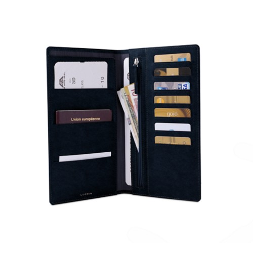 Travel Wallet - Navy Blue - Vegetable Tanned Leather