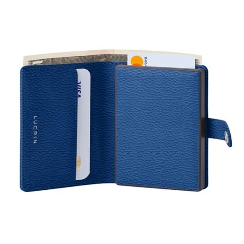 Porte cartes et billets Anti RFID - 2 - Bleu Roi - Cuir Grainé