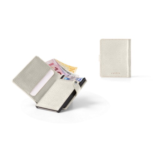Compact RFID Blocking Wallet - 2 - Off-White - Granulated Leather