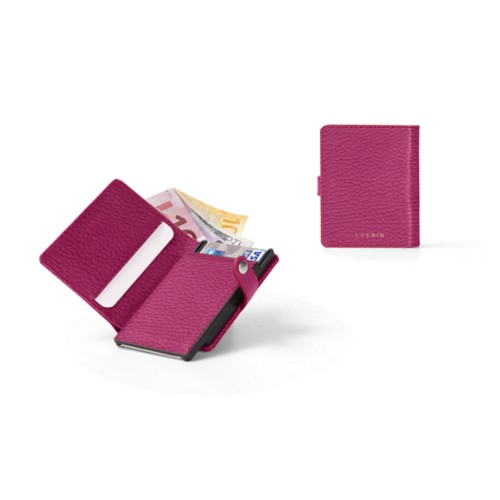 Compact RFID Blocking Wallet - 2 - Fuchsia  - Granulated Leather