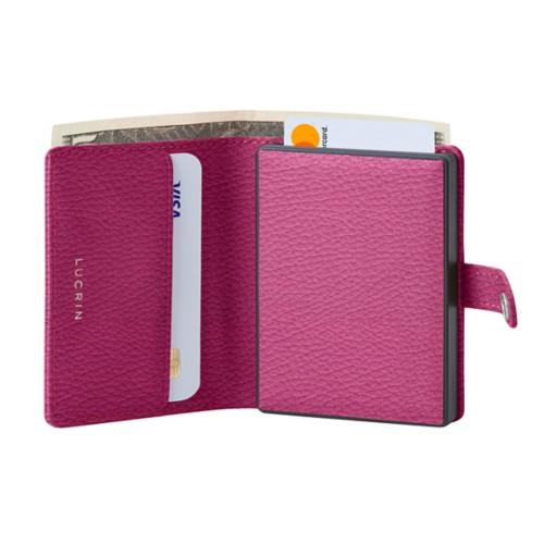 Cartera compacta con bloqueo RFID - 2 - Fuchsia  - Piel Grano