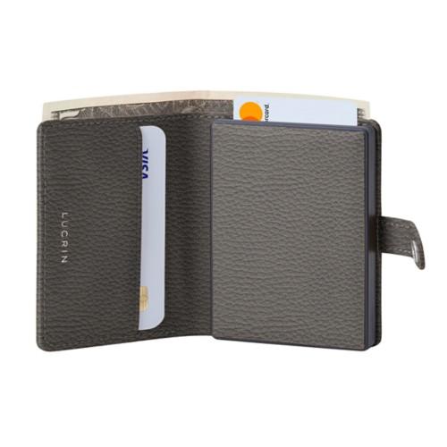 Porte cartes et billets Anti RFID - 2 - Gris Souris - Cuir Grainé