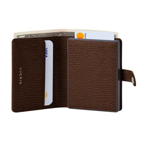 Porte cartes et billets Anti RFID - 2 - Marron Foncé - Cuir Grainé