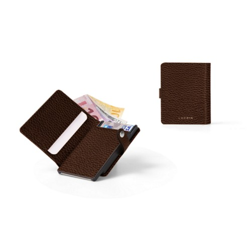 Porte cartes et billets Anti RFID - Marron Foncé - Cuir Grainé