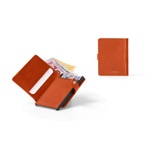 Porte cartes et billets Anti RFID - 2 - Orange - Cuir Grainé