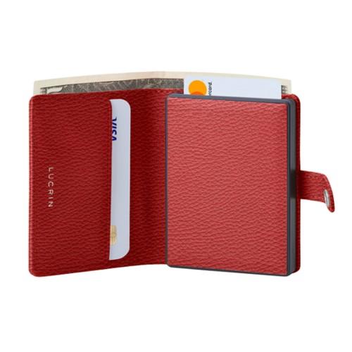 Porte cartes et billets Anti RFID - 2 - Rouge - Cuir Grainé