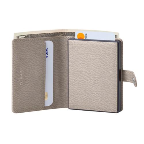 Porte cartes et billets Anti RFID - 2 - Taupe Clair - Cuir Grainé
