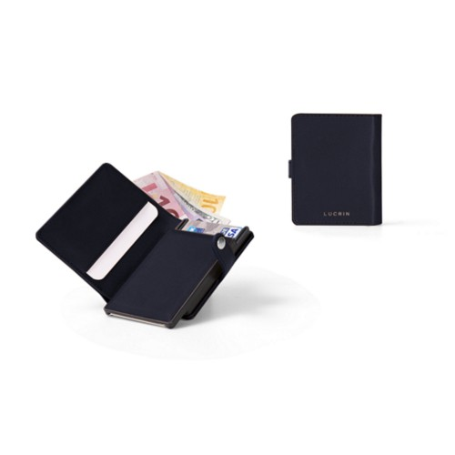 Compact RFID Blocking Wallet - 2 - Navy Blue - Smooth Leather