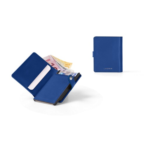 Porte cartes et billets Anti RFID - Bleu Roi - Cuir Lisse
