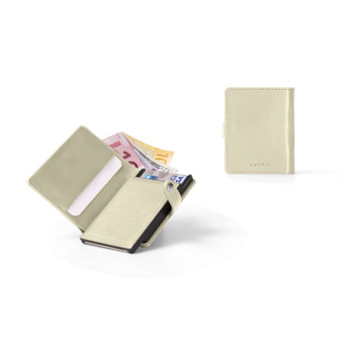 Compact RFID Blocking Wallet - 2 - Off-White - Smooth Leather