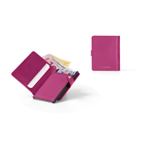 Compact RFID Blocking Wallet - 2 - Fuchsia  - Smooth Leather