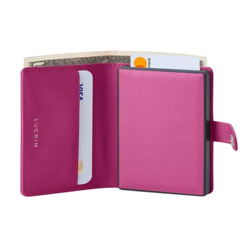 Cartera compacta con bloqueo RFID - 2 - Fuchsia  - Piel Liso