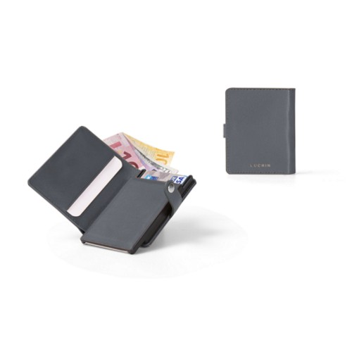 Compact RFID Blocking Wallet - 2 - Mouse-Grey - Smooth Leather