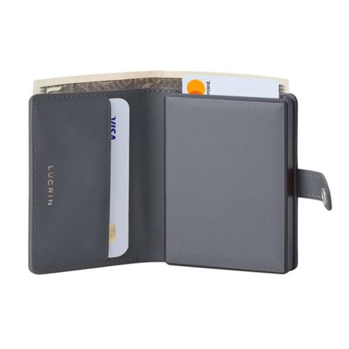 Porte cartes et billets Anti RFID - 2 - Gris Souris - Cuir Lisse