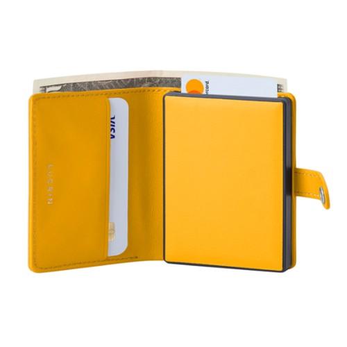 Porte cartes et billets Anti RFID - Jaune Soleil - Cuir Lisse