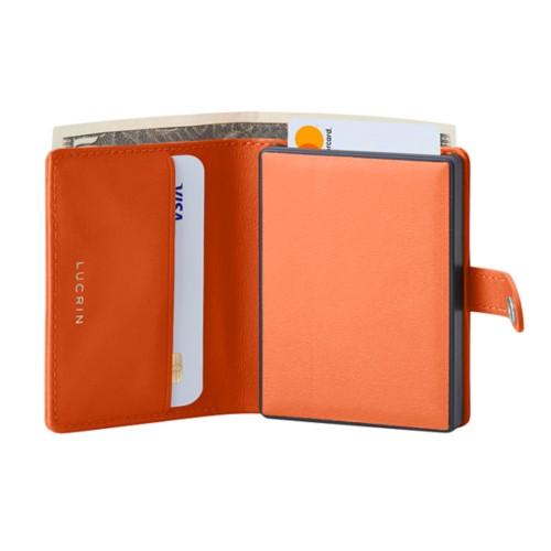 Compact RFID Blocking Wallet - 2 - Orange - Smooth Leather