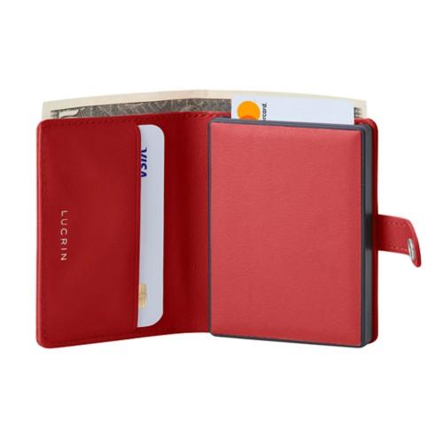 Porte cartes et billets Anti RFID - 2 - Rouge - Cuir Lisse