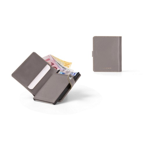 Compact RFID Blocking Wallet - 2 - Light Taupe - Smooth Leather