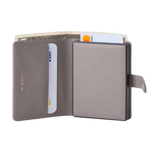 Porte cartes et billets Anti RFID - Taupe Clair - Cuir Lisse