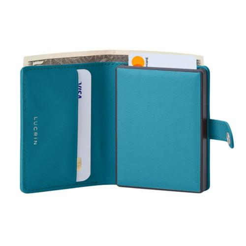 Porte cartes et billets Anti RFID - 2 - Turquoise - Cuir Lisse