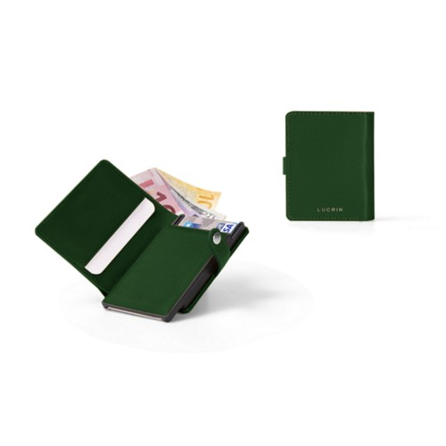 Compact RFID Blocking Wallet - 2 - Dark Green - Smooth Leather